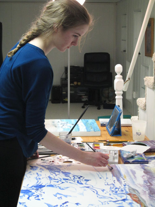 Miss chicago teen painting in oils