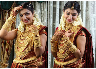 The Indian bride poses with her 1Kg gold jewels.
