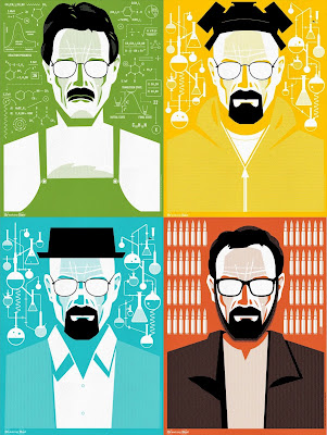"Breaking Bad ""The Many Faces of Walter White"" Screen Print Series by Ty Mattson - Mr. White, Heisenberg Yellow, Heisenberg Blue & Mr. Lambert"