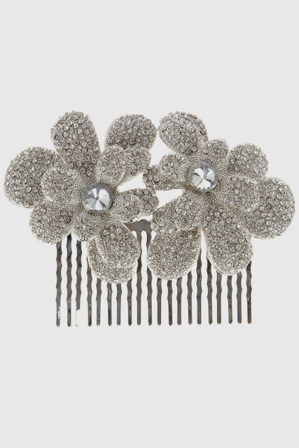 diamante flower comb