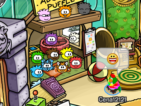 Club Penguin pet shop puffle stand