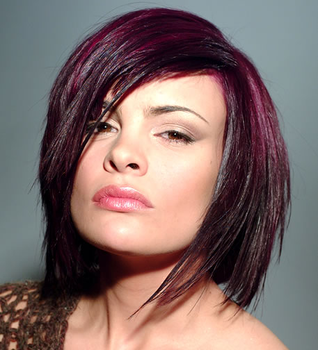 Medium Brown Hair with Purple Highlights