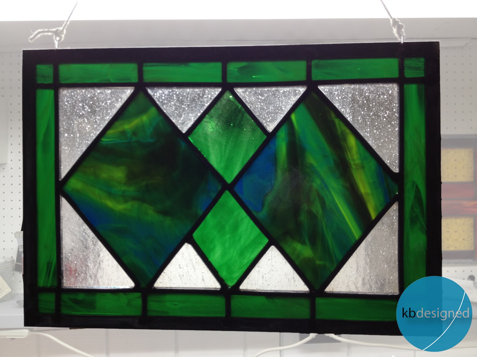 the copper coconut green diamonds stained glass for sale