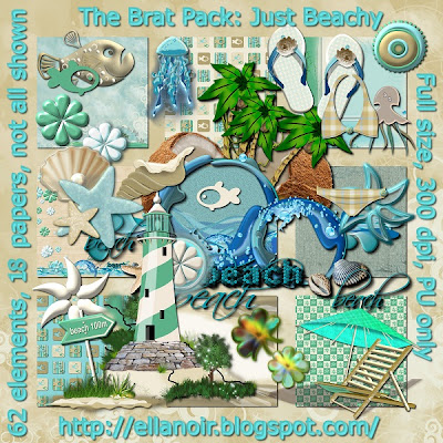 "Free scrapbook kit ""Just Beachy"" from Ellanoir"