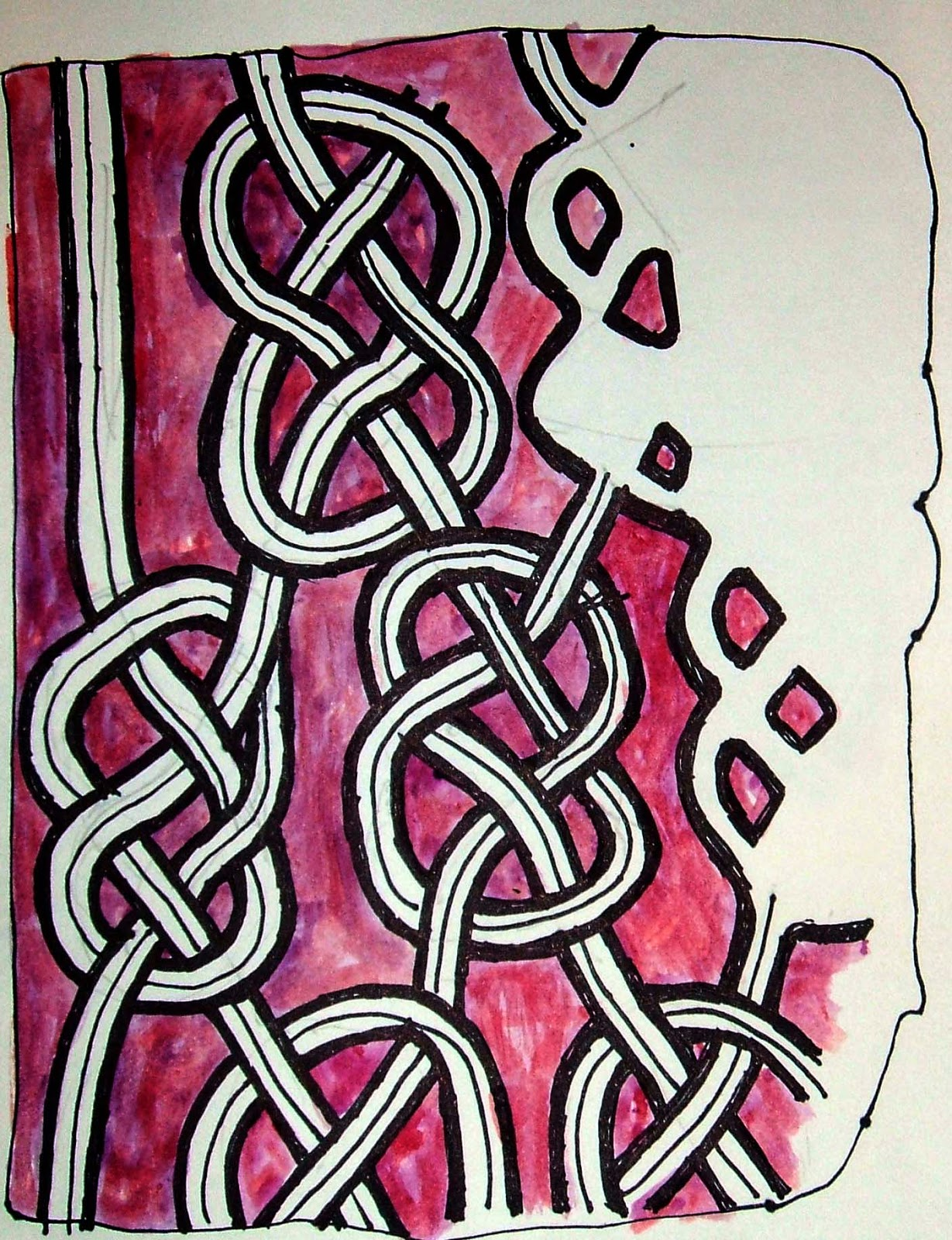 My pen and watercolour sketch based on the smaller knotwork.