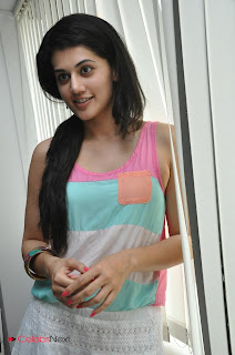 Tapsee Pannu Latest Pictures in Sleeveless Short Dress  0031