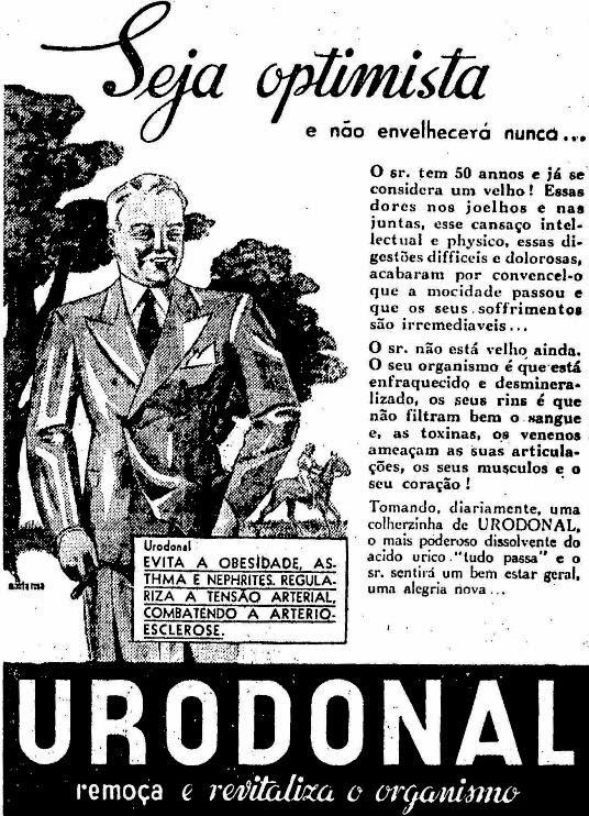 Em 1936, o medicamento Urodonal prometia remoçar e revitalizar o organismo, dando aos idosos uma vida livre do pessimismo