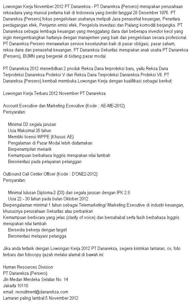 Lowongan Pekerjaan November 2012 PT Danareksa