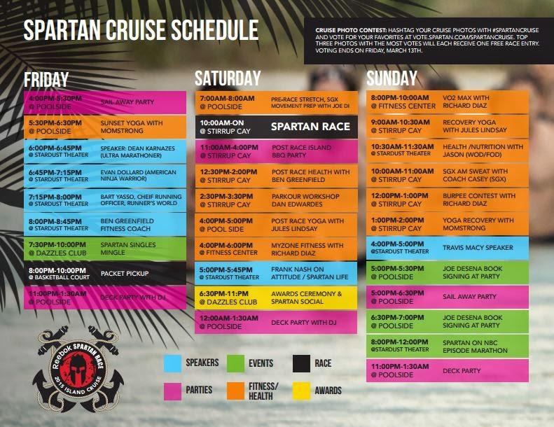 The Spartan Cruise 2015 - Bahamas Spartan Sprint Schedule