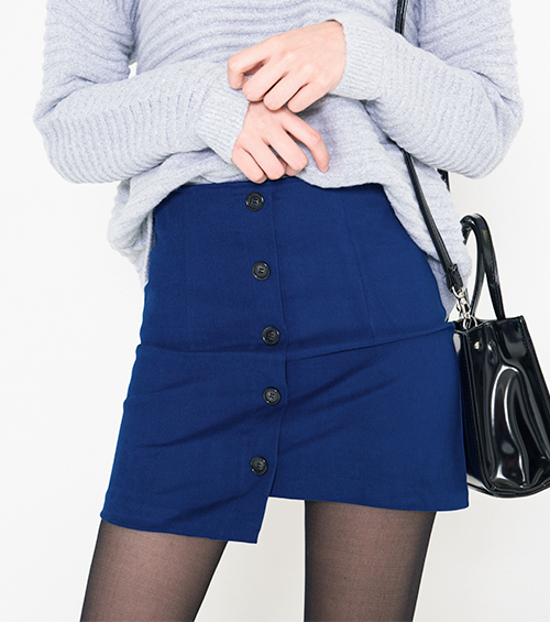 Button-Front Asymmetrical Hem Mini Skirt