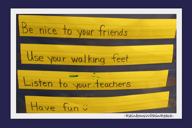 Sentence Strip List of Classroom Rules in VPK Preschool