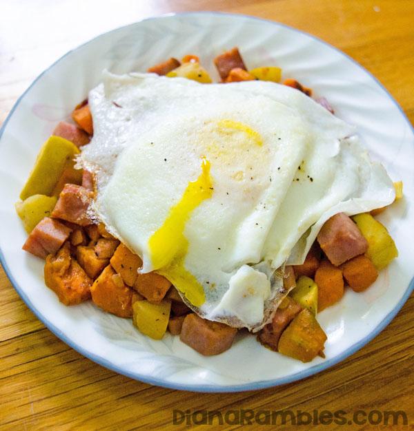 Sweet Potato Ham Hash Egg