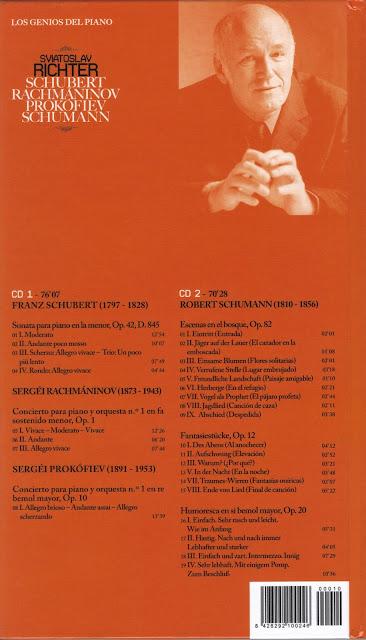 Imagen de Colección Los Genios del Piano-10-Sviatoslav Richter & Schubert, Rachmaninov, Prokofiev y Schumann-trasera