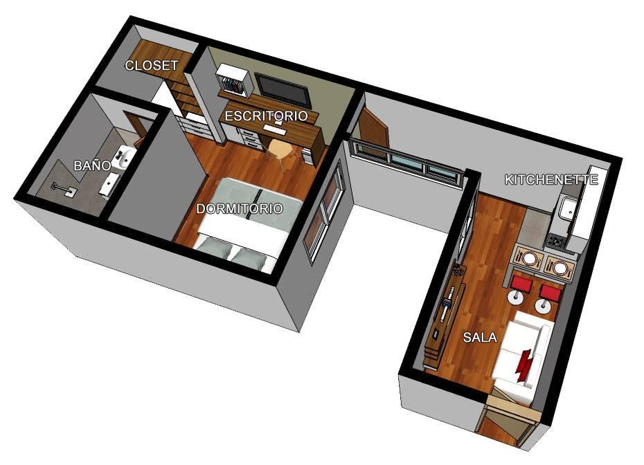 Oniria obra en proceso minidepartamento de 30 m2 for Diseno minidepartamento