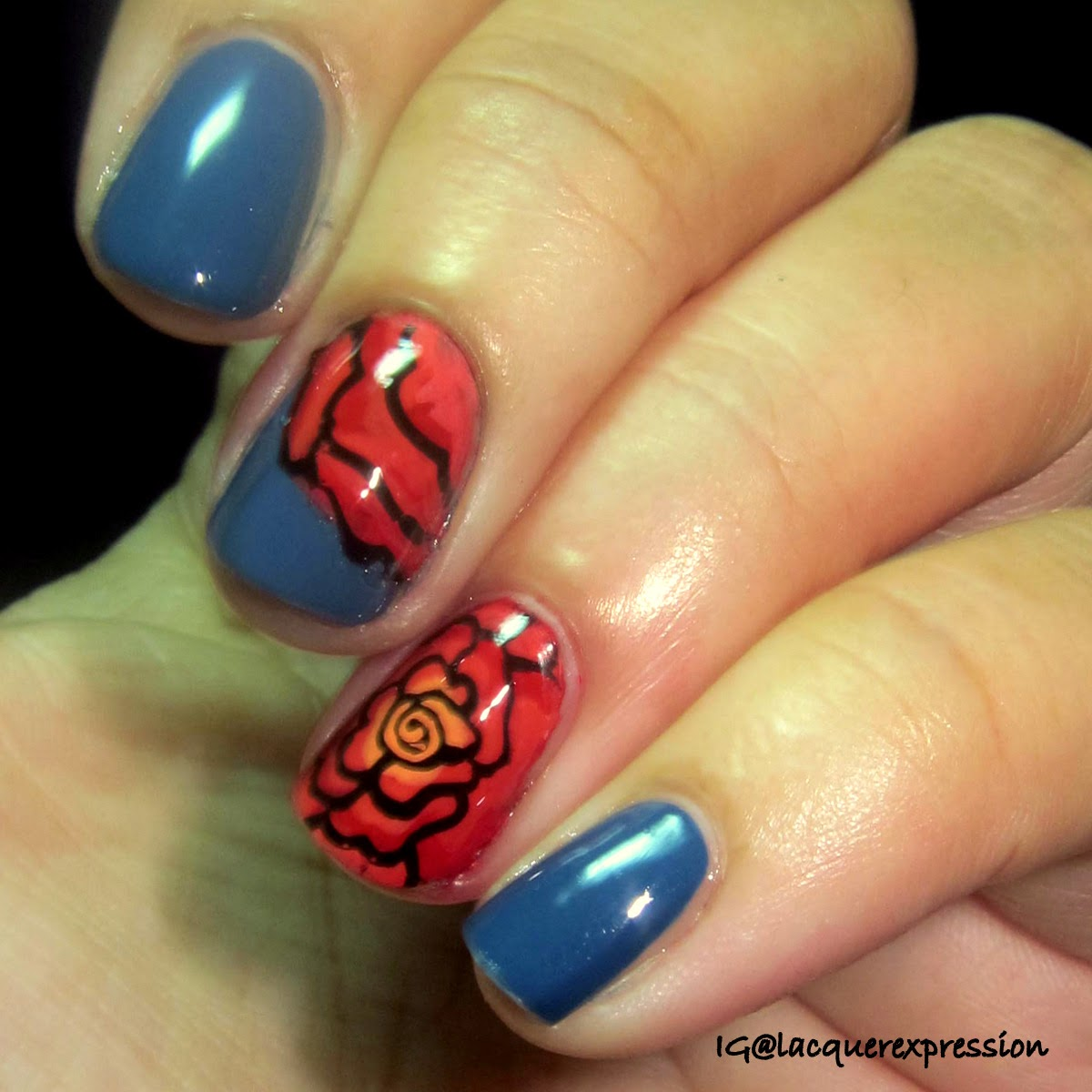 coral colored rose done by advanced reverse stamping over rain storm by sinfulcolors professionals