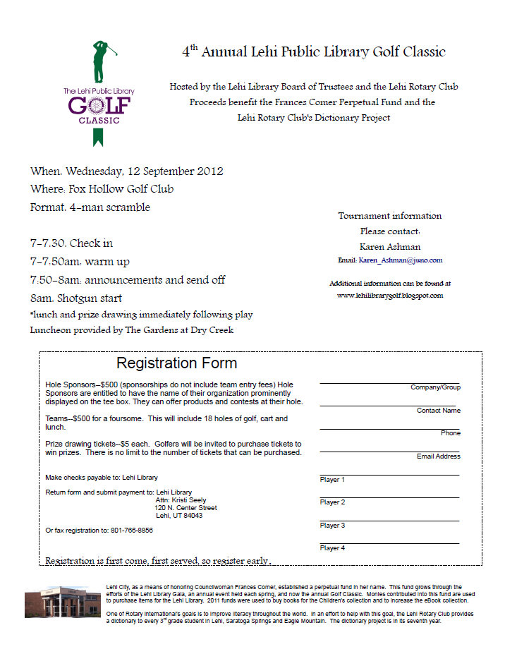 The lehi public library golf classic 2012 tournament registration 2012 tournament registration form sciox Gallery