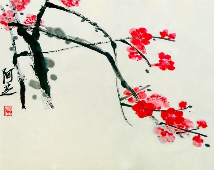 Qi baishi pruniers en fleurs