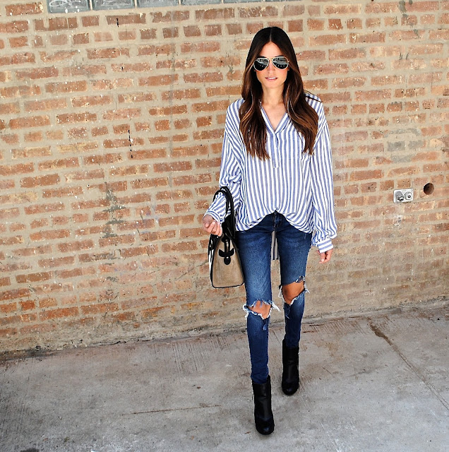 Shirt: Rails Elle striped pullover shirt // Jeans: Blank NYC Denim // Sunglasses: Ray-Ban Aviators //  Bag: Celine // Shoes: Shopbop Ash Cara Booties
