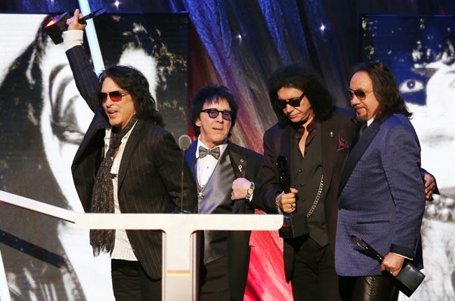 Paul Stanley Peter Criss Gene Simmons Ace Frehley Kiss Rock & Roll Hall of Fame 2014