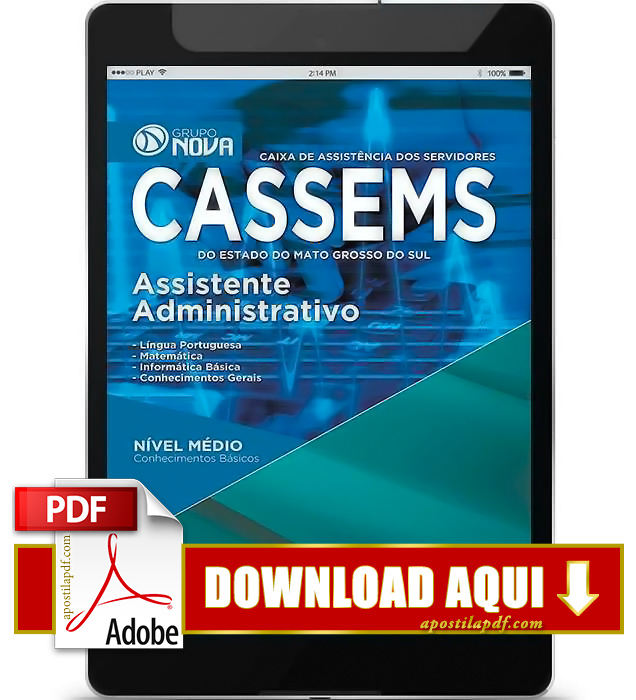 Apostila CASSEMS 2015 PDF Download Assistente Administrativo
