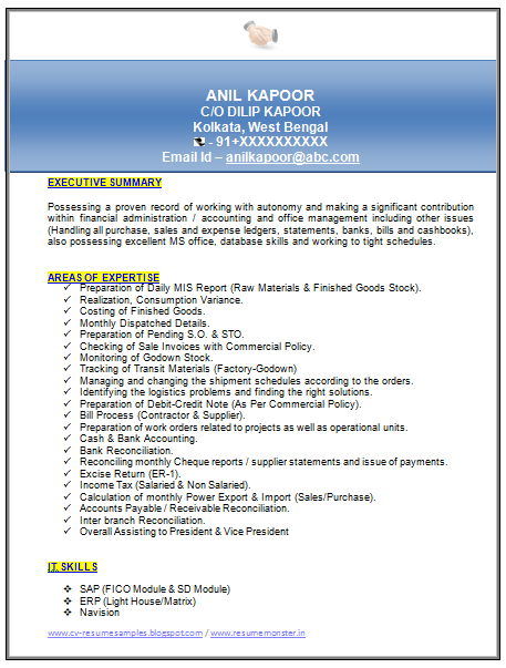 Free Download Link For MBA Finance Resume Sample For Experienced Doc
