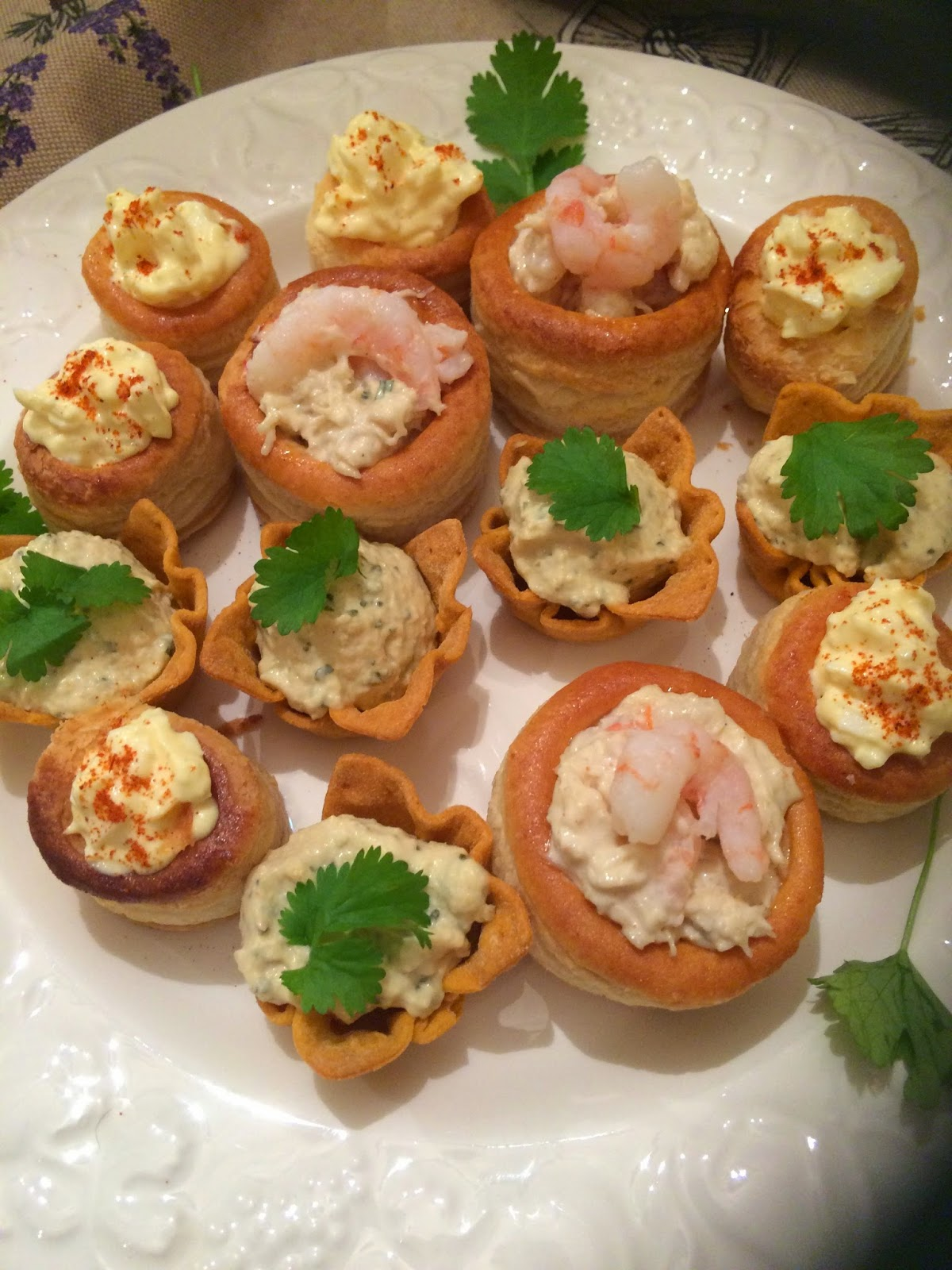 vol au vents with crab and prawns and egg mayo