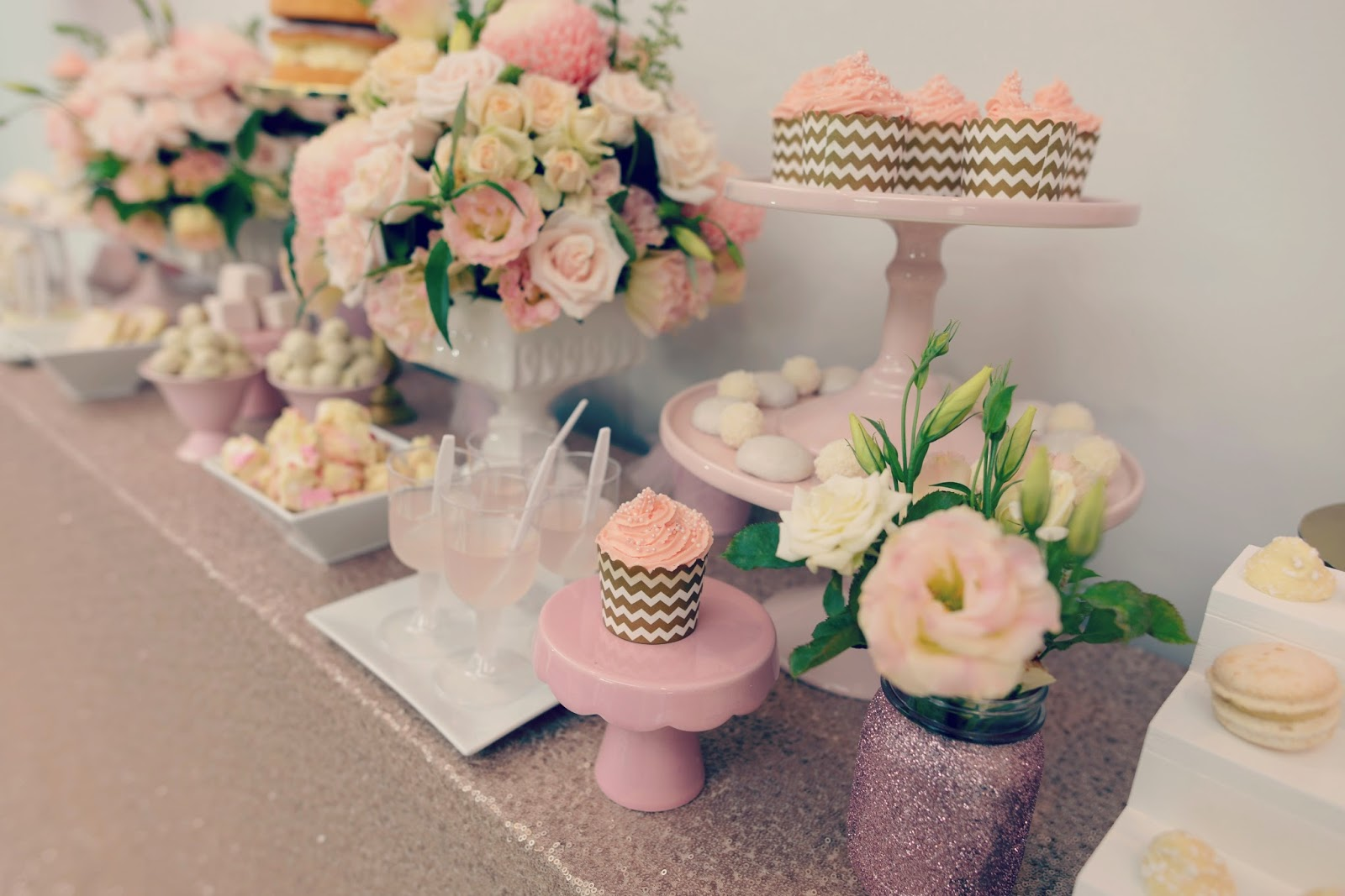 Urban flower baby shower flowers a gold and pink party we originally wanted huge arrangements of light and blossoming looking pink hydrangea but they require so much water that they just dont last the distance dhlflorist Images