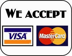 PAYMENTS: Credit cards, debit, money orders
