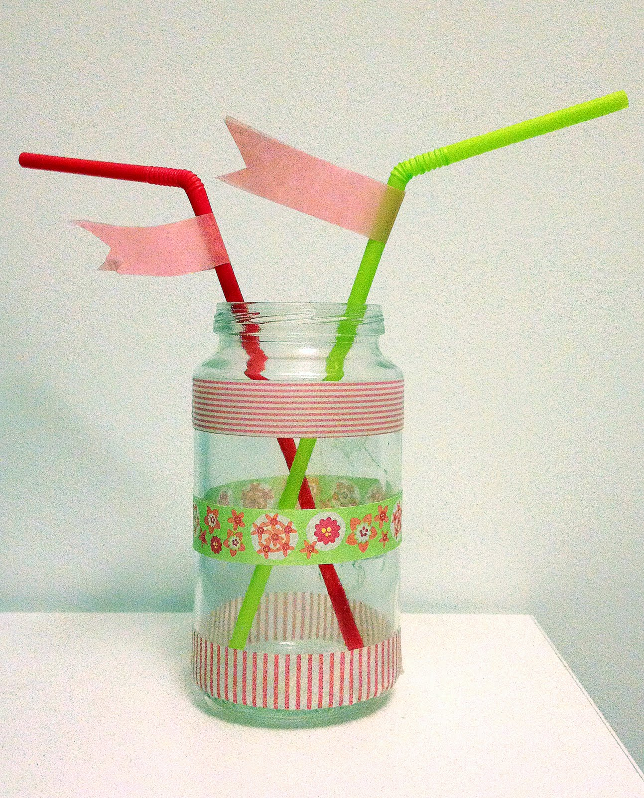 Bote de potito decorado con washi tape
