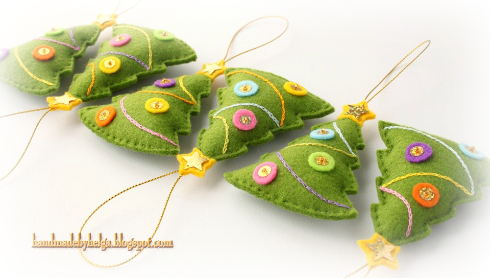 Handmade by Helga: Felt Christmas tree Ornaments