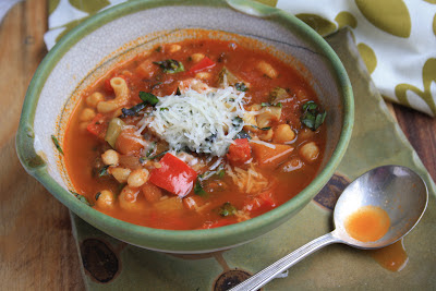 minestrone soup with beans, pasta and vegetables
