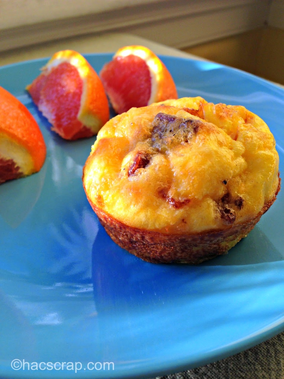 You can use almost any ingredients in your Muffint Tin Eggs, like Bacon and Cheese. Served with fruit, it's a quick and healthy meal.