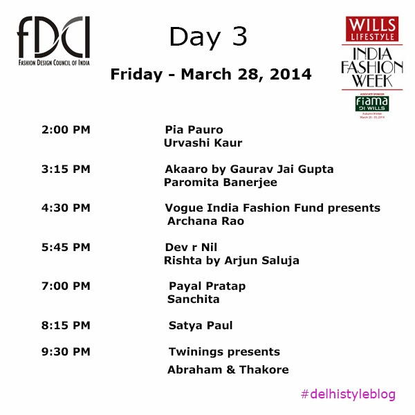 Wills Lifestyle India Fashion Week AW 14 Day 3 Schedule