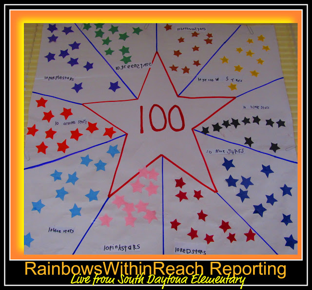 photo of: 100 Stars Bulletin Board for 100 Day Party (via 100 Day RoundUP at RainbowsWithinReach) 