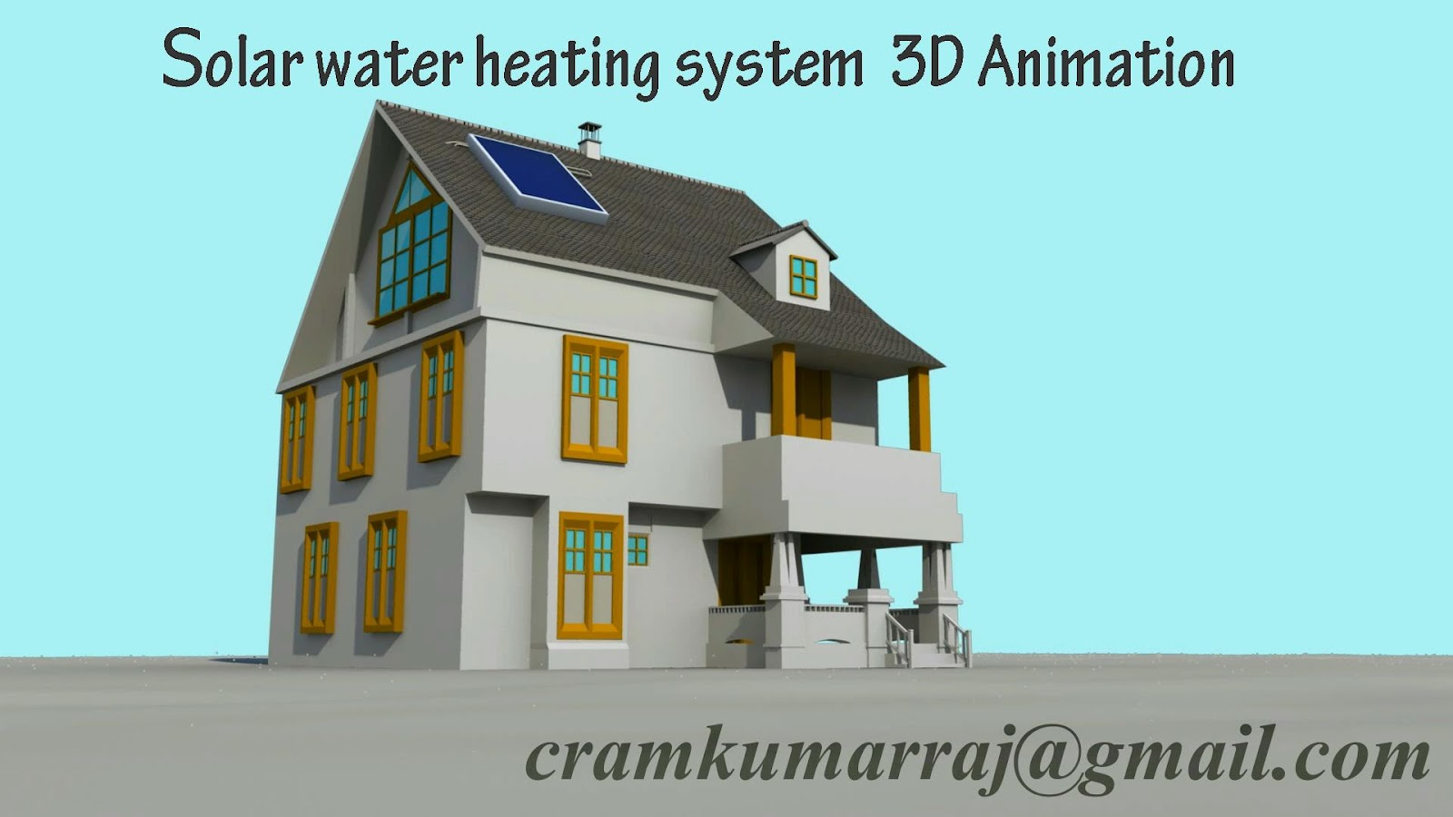 3d works: Solar Water Heating System 3d Animation