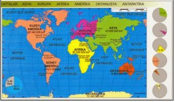 D�nya'daki K�talar ve Okyanuslar Haritas� - ayr�nt�l�