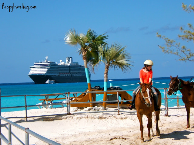 Riding horses with the cruise ship in the background
