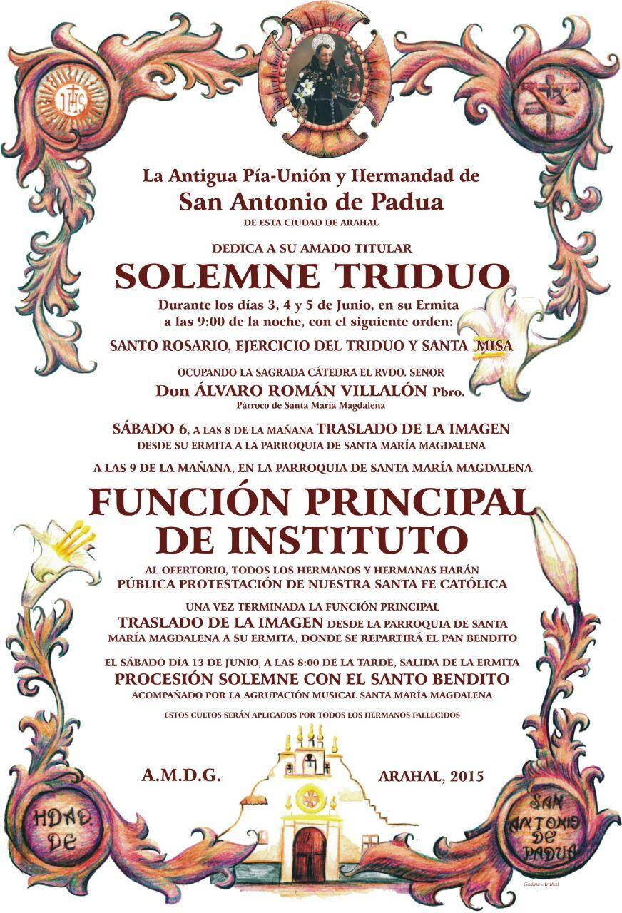 SOLEMNE TRIDUO Y FUNCION 2015