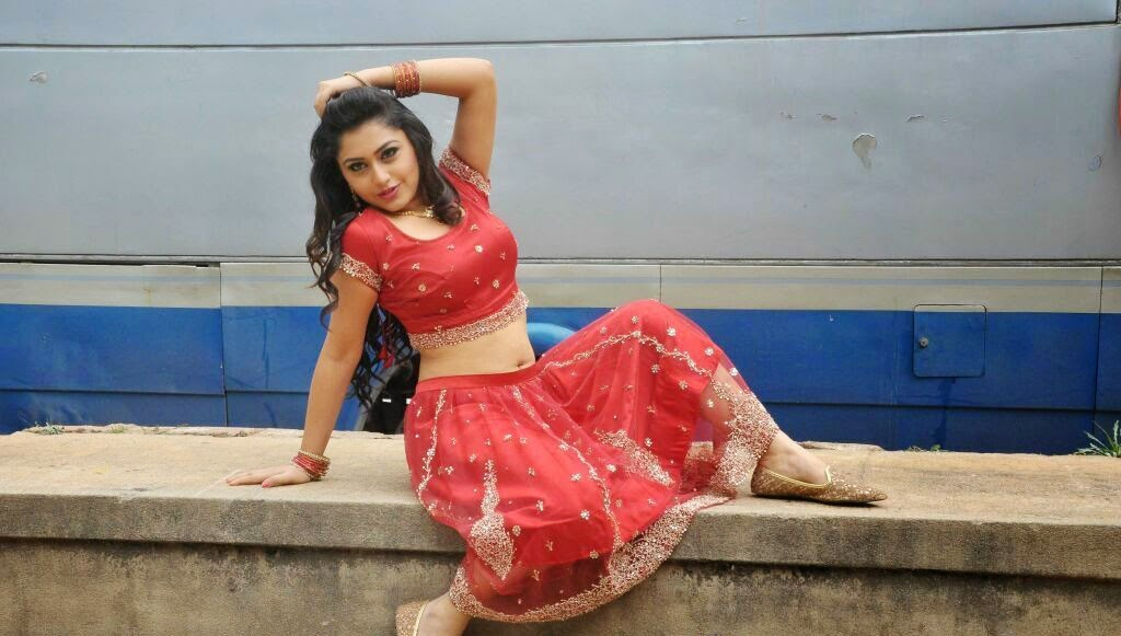 Actress Ramya Barna Hot Spicy Navel Show in Red Dress Gallery