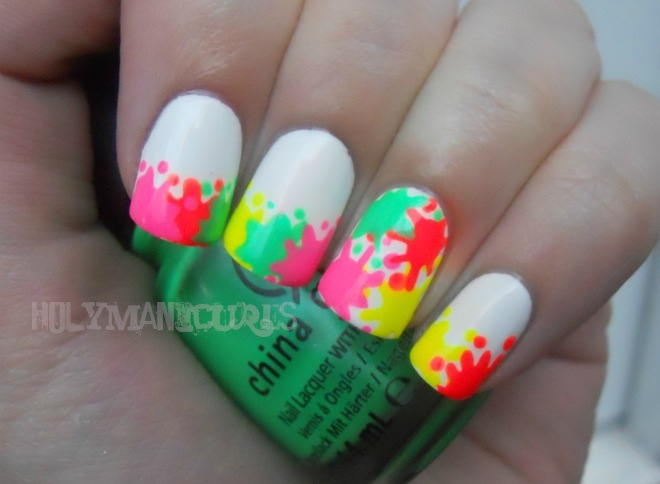 Nailed it the nail art blog may 2012 i used the paint splatters as a sort of twist on a french manicure on all of my nails except the accent nail which i covered in the splatters prinsesfo Choice Image