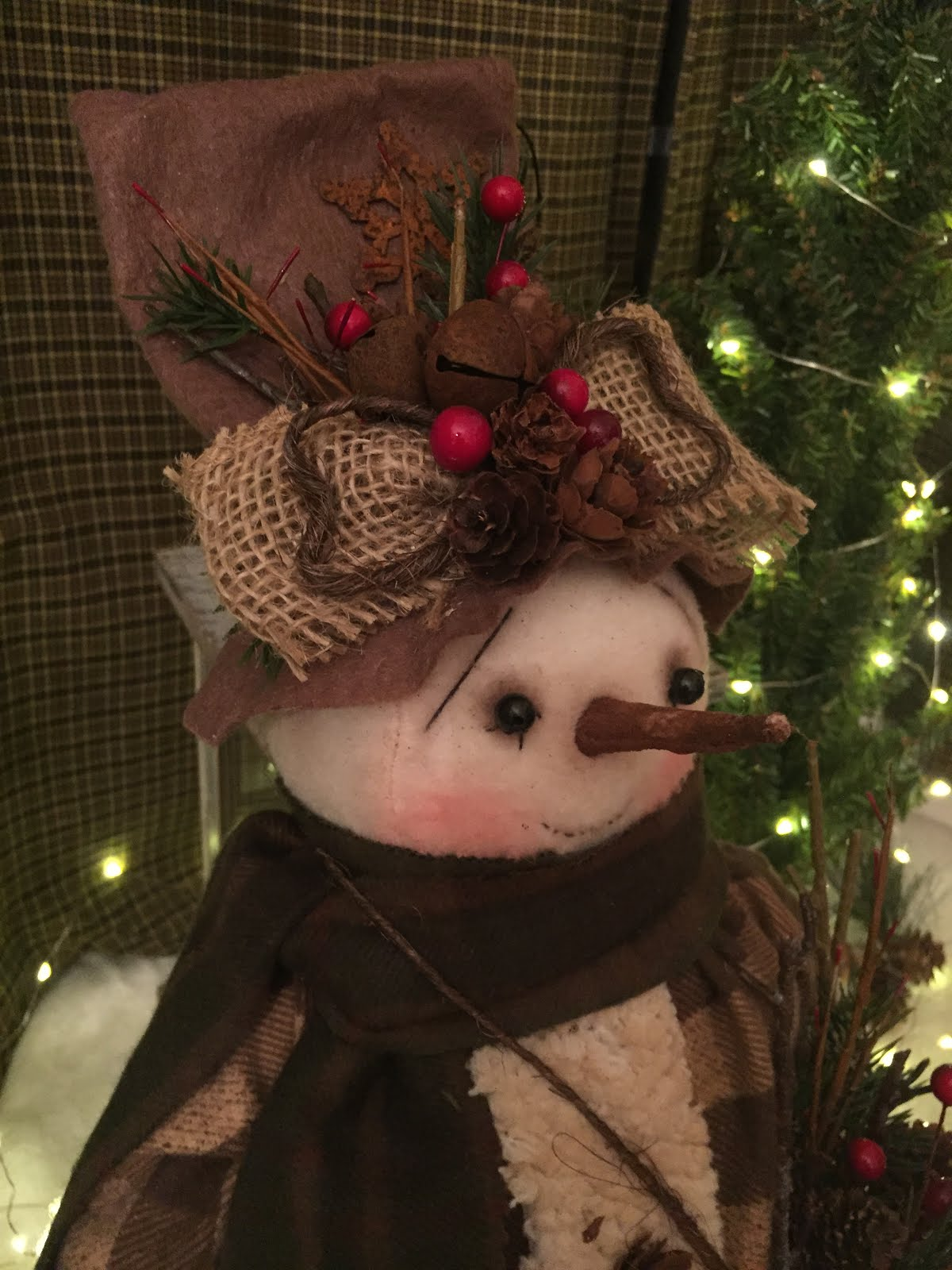 Handmade Primitive Standing Snowman With Burlap Sack And Ornament