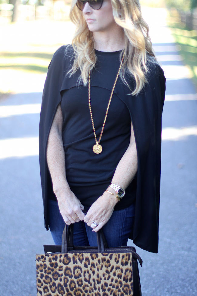shein cape, jcrew jeans, club monaco heels, boden bag, coin necklace