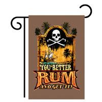 rum and get it skull and crossbones garden flag
