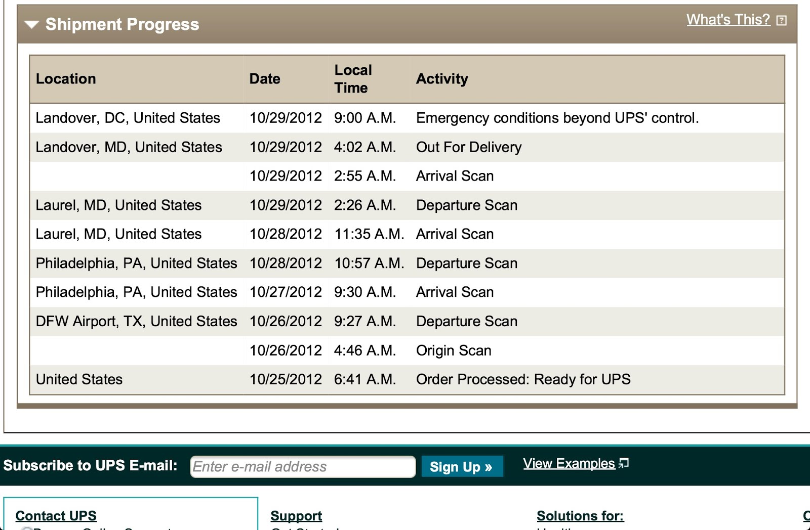 emergency conditions beyond ups control