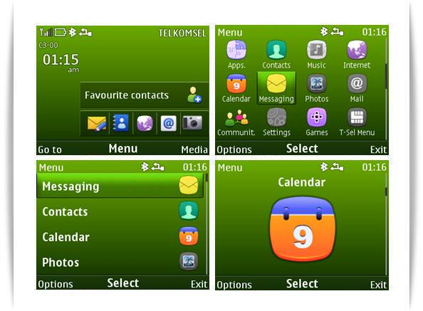 themes features nokia green themes for nokia c3 00 x2 01 asha 200
