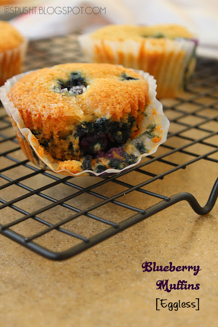 spusht | eggless blueberry muffins using yogurt as egg substitute