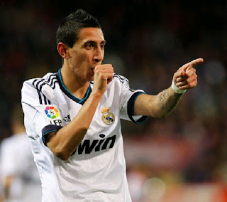 Di Maria celebrates his goal against Atletico Madrid