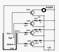 Water+Level+Indicator+With+Buzzer+Circuit+Using+Transistor wiring schematic diagram water level indicator with buzzer indicator buzzer wiring diagram at bayanpartner.co
