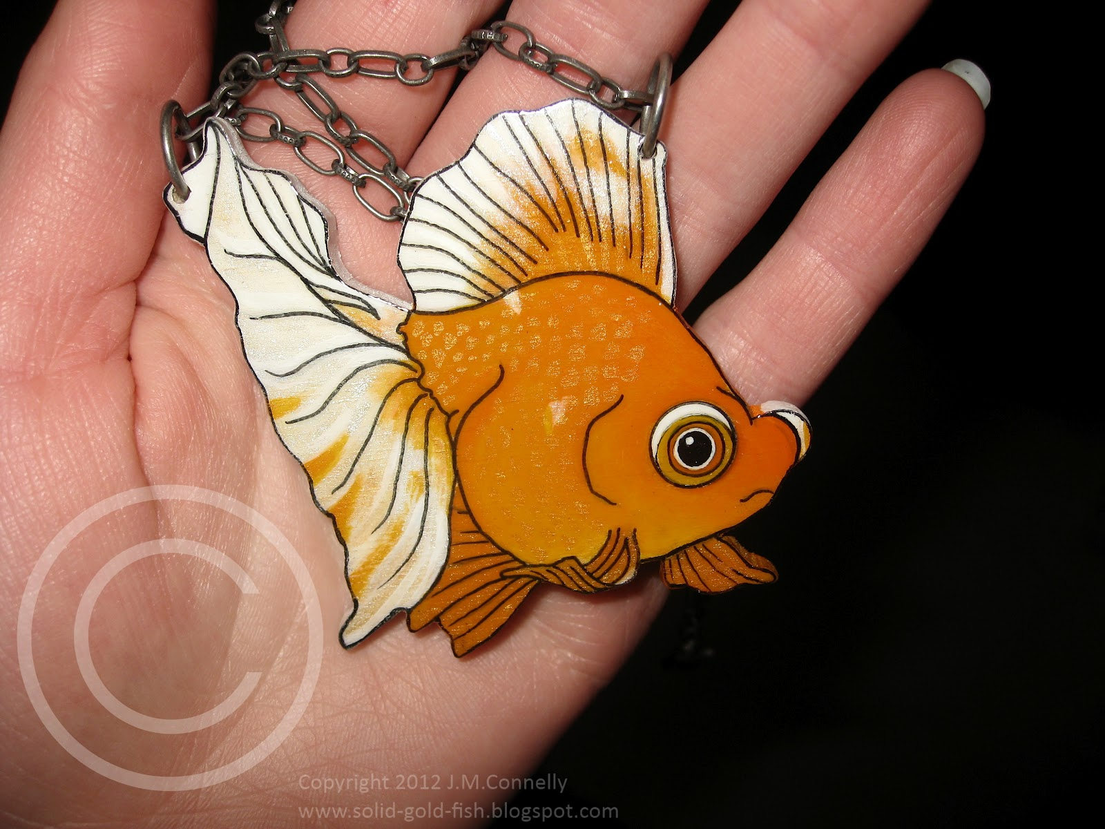 Solid gold custom goldfish necklace for Solid gold fish