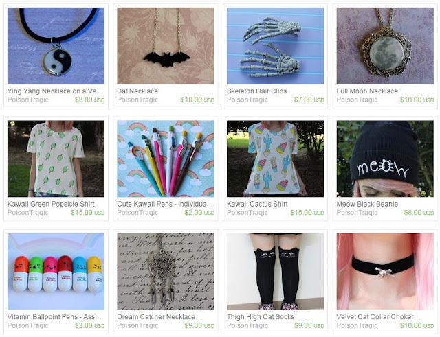 Poison Tragic is a lovely Etsy shop selling grunge jewelry, vintage accessories, cute shirts and more! Here are some of their products.
